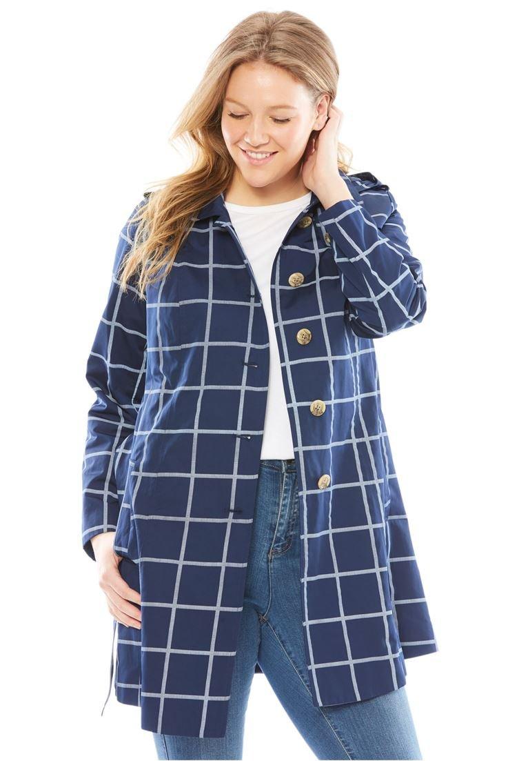 Woman Within Women's Plus Size Classic Trench Raincoat Window Pane,26 W