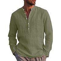 LVCBL Men's Linen Shirt Summer Long Sleeve Shirt with Pockets Casual Shirt