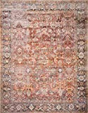 Loloi ll Layla Collection Printed Vintage Persian Area Rug 5'0' x 7'6' Spice/Marine