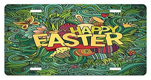 Easter License Plate by Lunarable, Pop Funk Art Retro Festive Phrase with Butterfly and Forest Leaf Graphic, High Gloss Aluminum Novelty Plate, 5.88 L X 11.88 W Inches, Green Earth Yellow (Easter Phrases)