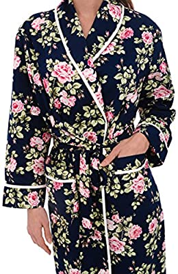 Alexander Del Rossa Womens Floral Cotton Summer Robe, Lightweight House Coat for Her