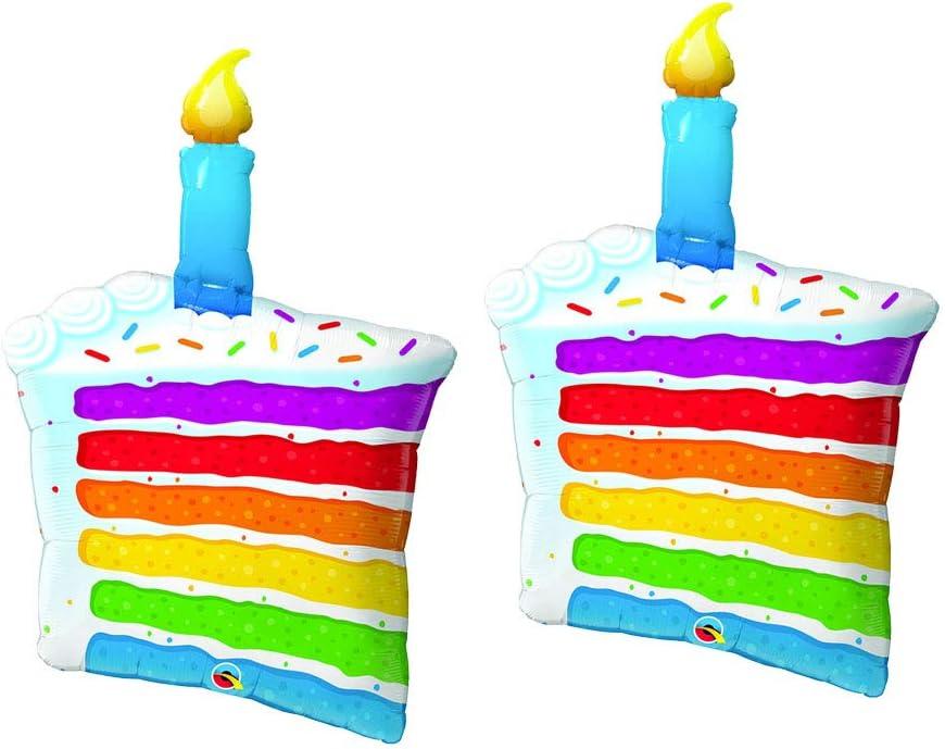 Excellent Amazon Com Rainbow Cake Slice Jumbo 42 Foil Birthday Party Personalised Birthday Cards Akebfashionlily Jamesorg