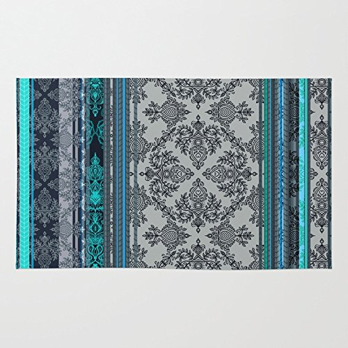 Society6 Teal, Aqua & Grey Vintage Bohemian Wallpaper Stripes Rug 3' x 5' - Polyester Stripes Rug