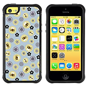 Suave TPU GEL Carcasa Funda Silicona Blando Estuche Caso de protección (para) Apple Iphone 5C / CECELL Phone case / / Bee Flowers Pattern Yellow /