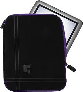 Universal 8 Inch Neoprene Shock Resistant Tablet Carrying Case for Lenovo Tab 4 8 Plus 8, Yoga Tab 3 8, Tab 2 A8 8, Tab 2 A7 7, Xiaomi MiPad 3 7.9, Nextbook Ares 8 (Black, Purple Trim)