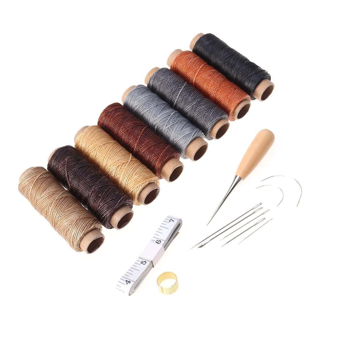 Vosarea 18-teiliges Set aus Leder Handarbeit mit Nadeln zum Nä hen von Hand Bohren gewachst und Wü rfel zum Nä hen