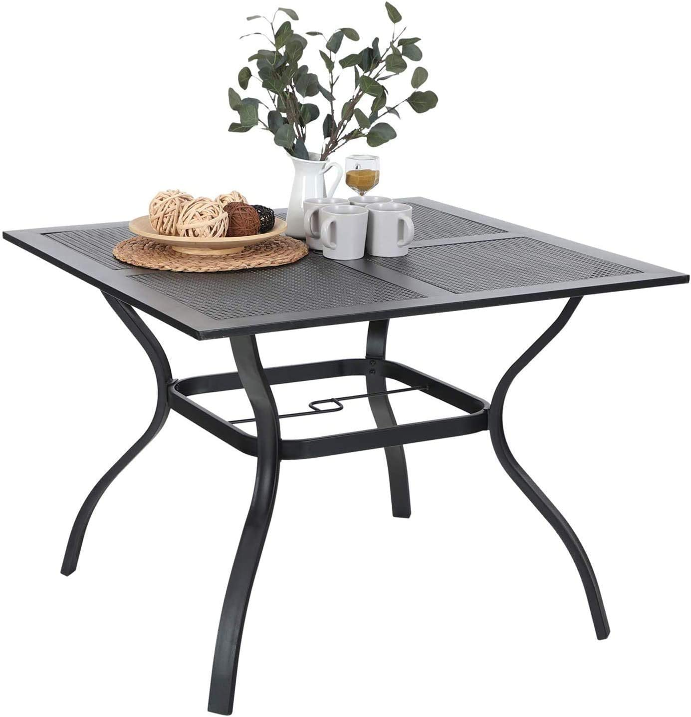 Sophia William Metal Dining Table Patio Square Table Outdoor Umbrella Table Mesh Metal Top for Water Drip Through for Garden Lawn 37 x 37 Weather Resistant Table Black