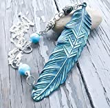 Bohemian Feather Necklace By Arcane Attire | Turquoise Feather Pendant | Native American Jewelry | Earthy Beaded Necklace | Tribal Inspired Necklace With Bead Accents