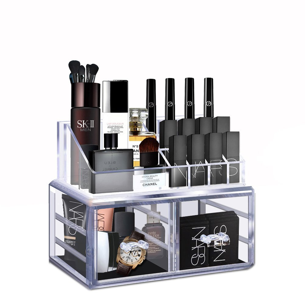 Acrylic Makeup Organiser, Clear Lipstick Holder Separable Cosmetic Storage Box with 2 Large Make Up Drawer , Display Show Case for Cosmetics, Jewelry, Toiletries Cozihoma
