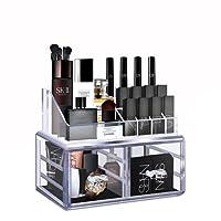 Cozihoma Maquillage Organisateur Acrylique 360 ° Rotation Réglable Carrousel Stockage Fonction Stockage Cosmétiques