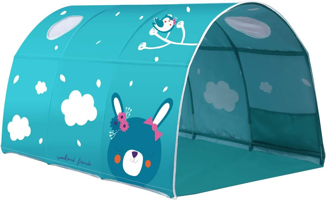 homedecoam Childrens Cabin Bed Tunnel Tent for 90-100cm in Width Loft Bunk Bed Green
