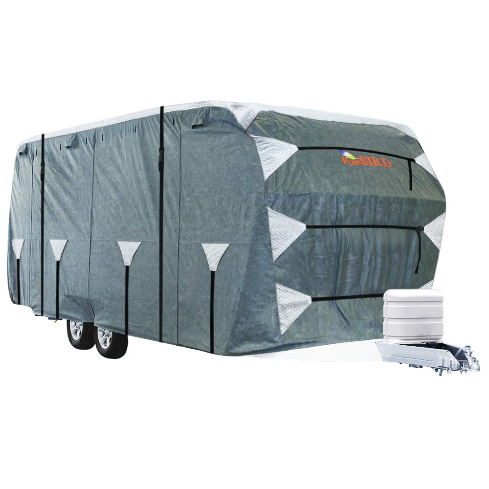 KING BIRD Upgraded Travel Trailer RV Cover, Extra-Thick 4 Layers Anti-UV Top Panel, Deluxe Camper Cover, Fits 27'- 30' RV Cover -Breathable, Water-Repellent, Rip-Stop with 2Pcs Straps & 4 Tire Covers