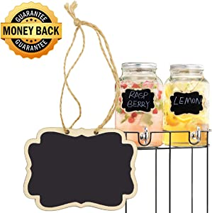 Alyan & Jammsy Mini Hanging Chalkboard Signs Wooden Reusable Smooth Surface Small Chalk Boards Double-Sided Little Labels for Food Pantry Beverage Baskets (Black, Pack of 12pcs)