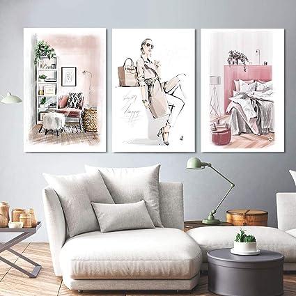Fashion Girl Super Modele Mur Art Toile Peinture Aquarelle Vogue Nordic Affiches Et Gravures 3 Piece Mur Photos Pour Salon Decor Sans Cadre 60 80cm 3 Amazon Fr Cuisine Maison