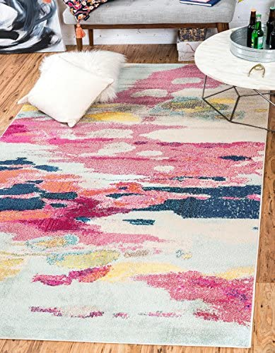 Unique Loom Estrella Collection Modern Abstract Pink Area Rug 7' 0 x 10' 0