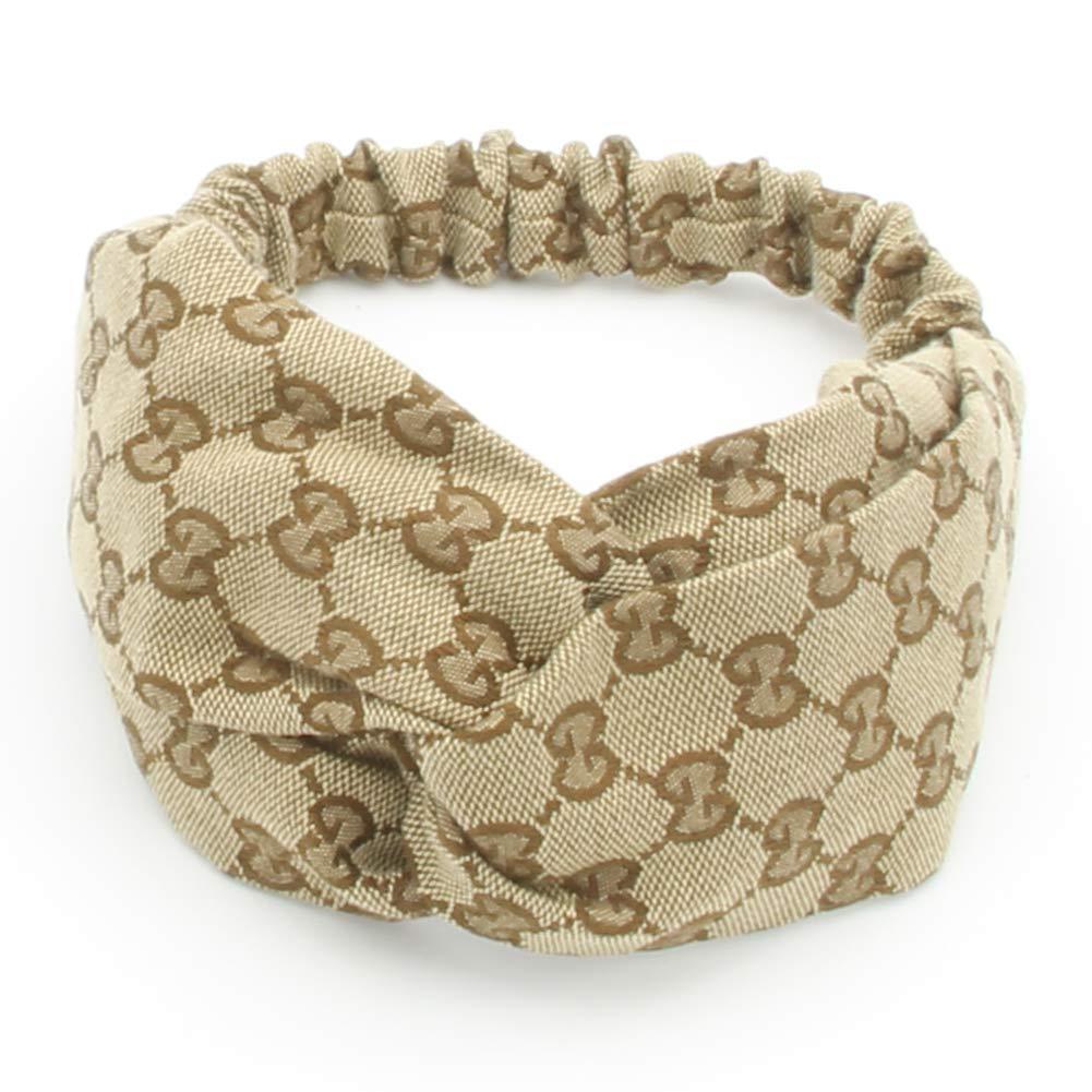 Designer Jacquard Weave Headbands for Women Fashionable Cross Knot Wide Turban Hairbands for Girls (GG Letter Style) (GG by NAKALAKA