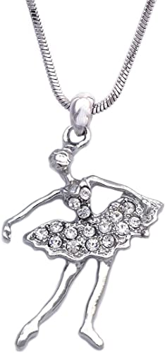 Dancing Ballerina Dancer Ballet Dance Pendant Necklace Jewelry Color Crystal