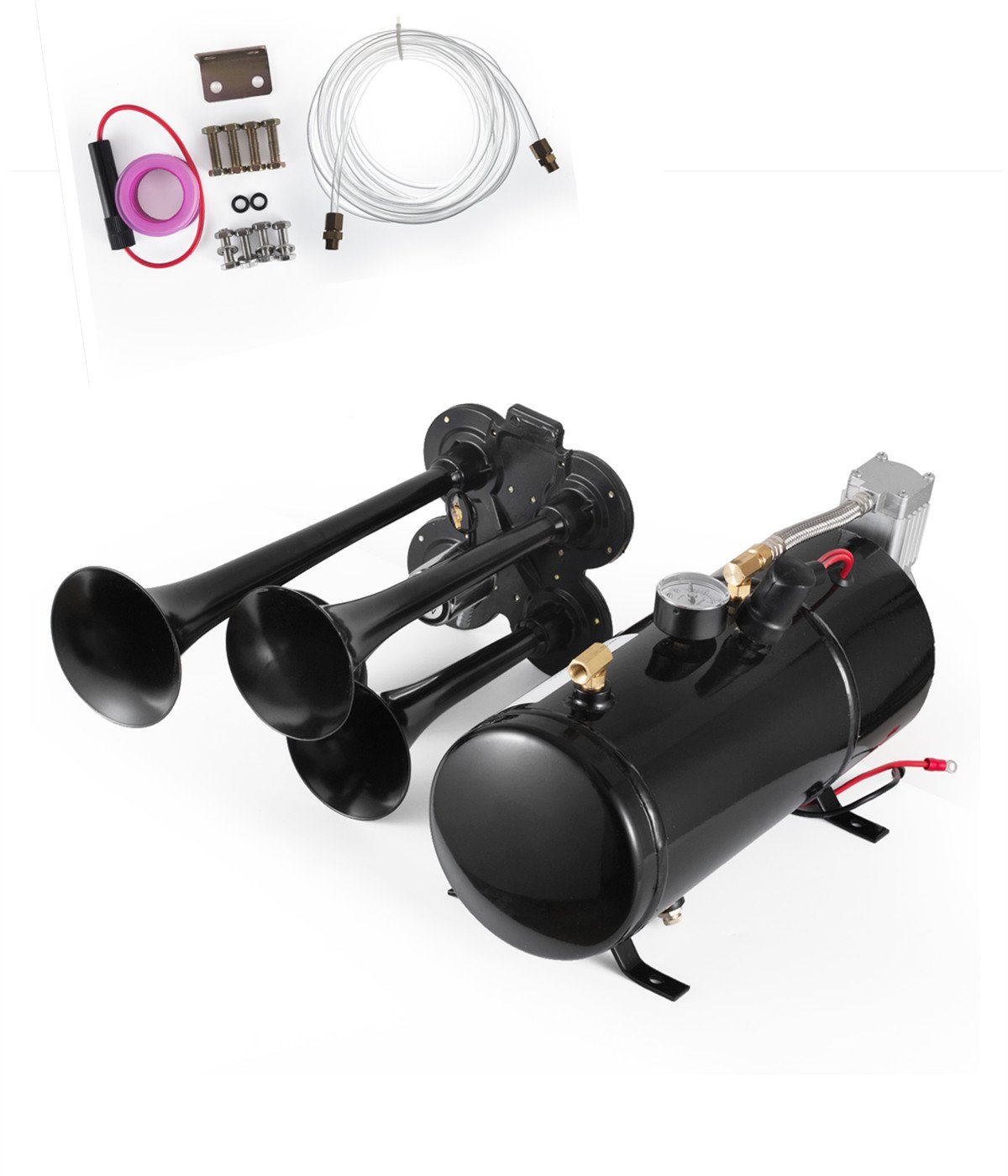 SHZOND Train Horn Kit 4 Trumpet Super Loud Air Horn Compressor Kit with 150 PSI Compressor and 0.8 Gallon Air Tank for Truck Boat or SUV (train horn kit)