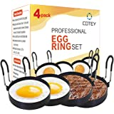 """COTEY Large 3.5"""" Nonstick Egg Rings Set of 4, Round Crumpet Ring Mold Shaper for English Muffins Pancake Cooking Griddle…"""