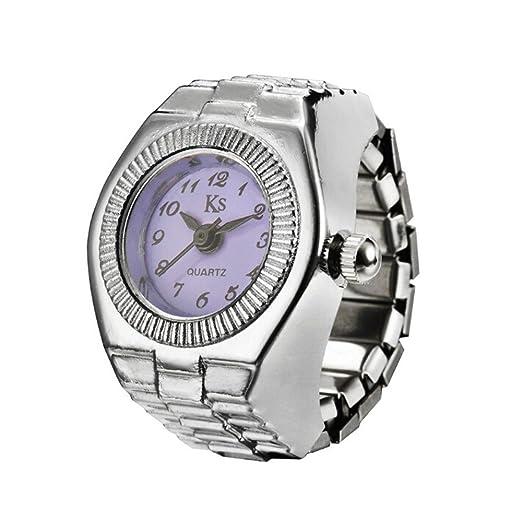 Kinlene Reloj Analogico De Cuarzo Dial Creativo Dedo Anillo Reloj De Cuarzo De Acero Cool EláStico