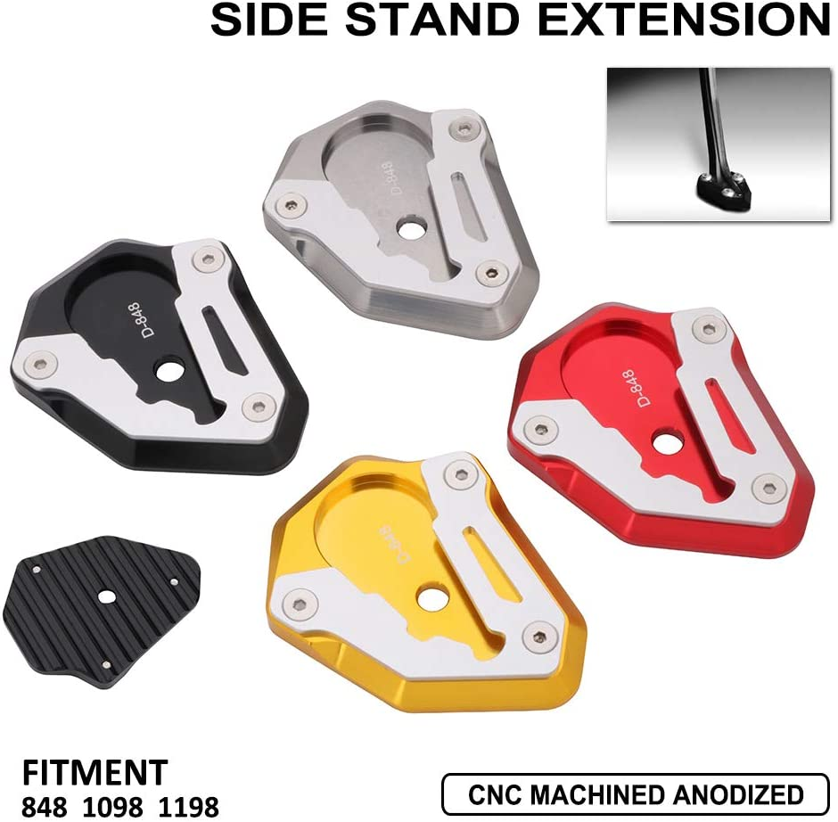 Motorcycle Side Stand Plate Kickstand Extension Pad Enlarger For DUCATI 848 1098 1198 All Years Gold