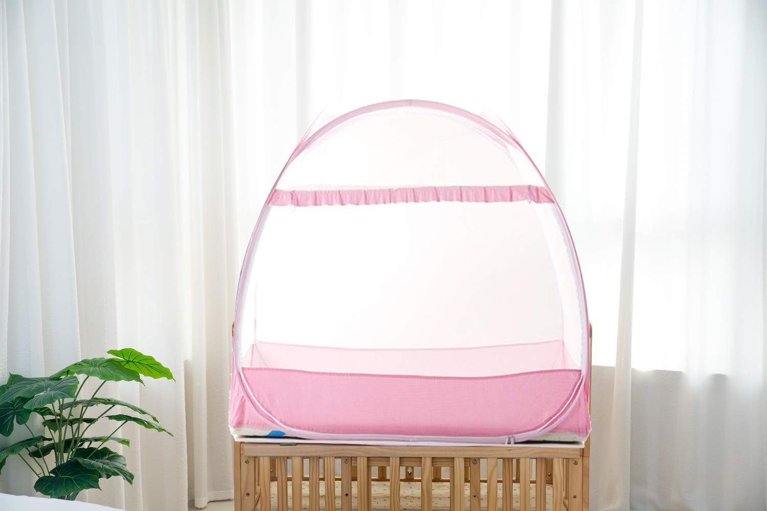 Baby Crib Safety Tent, Pop up Mosquito Net Crib Canopy Cover to Keep Baby from Climbing Out and Keep Insects Out by AMORBASE (Pink, 47''L x 26''W x 39''H)