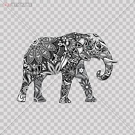 Decals Sticker Elephant Car Window Wall Art Decor Doors Helmet Truck Motorcycle Note Book Mobile Laptop Glass Size: 4 X 2.8 Inches Vinyl color print