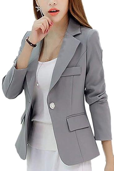 Mujer Blazer Elegante Slim Fit Formal Negocios Oficina Casual Chaqueta De Traje Basicas Fashion Simplemente Botonadura De Solapa Manga Largo Americana ...