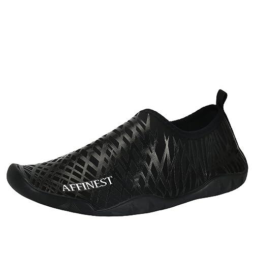 AFFINEST Unisex Zapatos de Agua Deportivos descalzo de Secado Rápido Respirable Piscina Playa Para Hombre Surf Yoga Water Shoes(Negro,32)