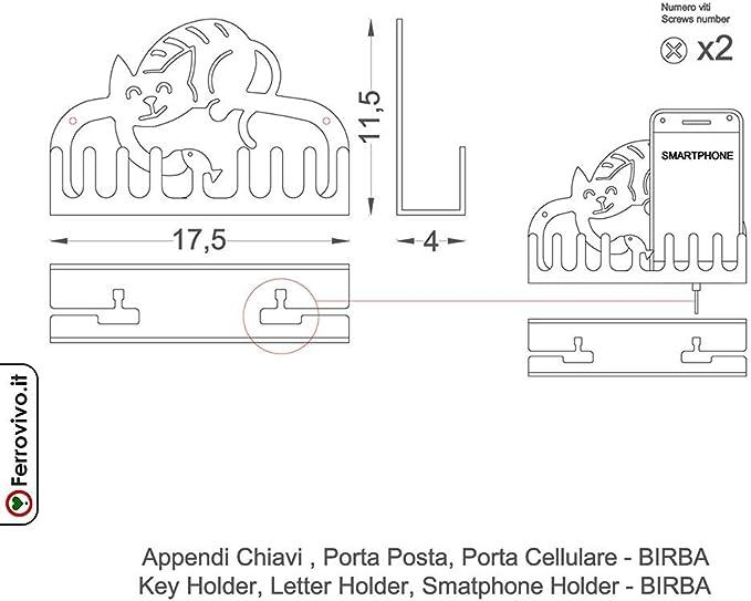 BIRBA Appendichiavi Portacellulare Portaposta in Metallo Ferrovivo/®