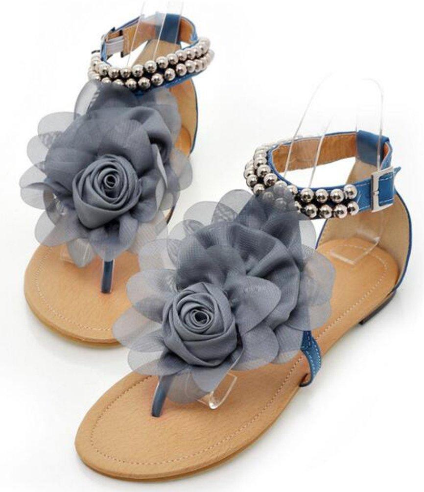 Easemax Damen Süß Blume Zhentrenner Metallic Perlen Schnalle Sandalen Blau 41 EU s9R7Yynzh