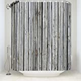 Gray Old Wood Board Print Farm House Country Style Grain Shower Curtain 72x78inch
