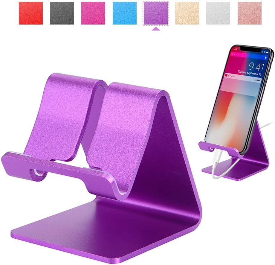 Rumfo Cell Phone Stand Universal Portable Aluminum Desktop Charger Mount Holder, Metal Tablets Dock Cradle for iPhone 11 X 8 7 6 Samsung Galaxy s10 9 All Smartphone (Purple)