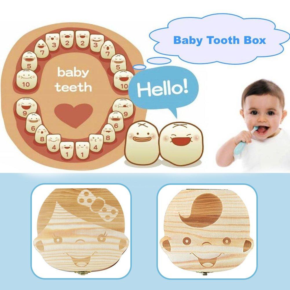 Wooden Tooth Keepsake Box for Baby Kids Milk Teeth//Umbilical Cord//Lanugo Memory Storage Boxes Organizer for Boys Girls Baby Teeth Box Save Organizer