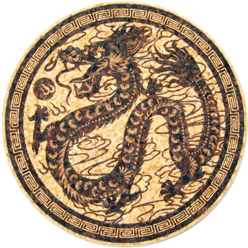 XL Coasters Chinese Dragon (9 Inch) Oversized cork absorbent drink coaster that really works USA