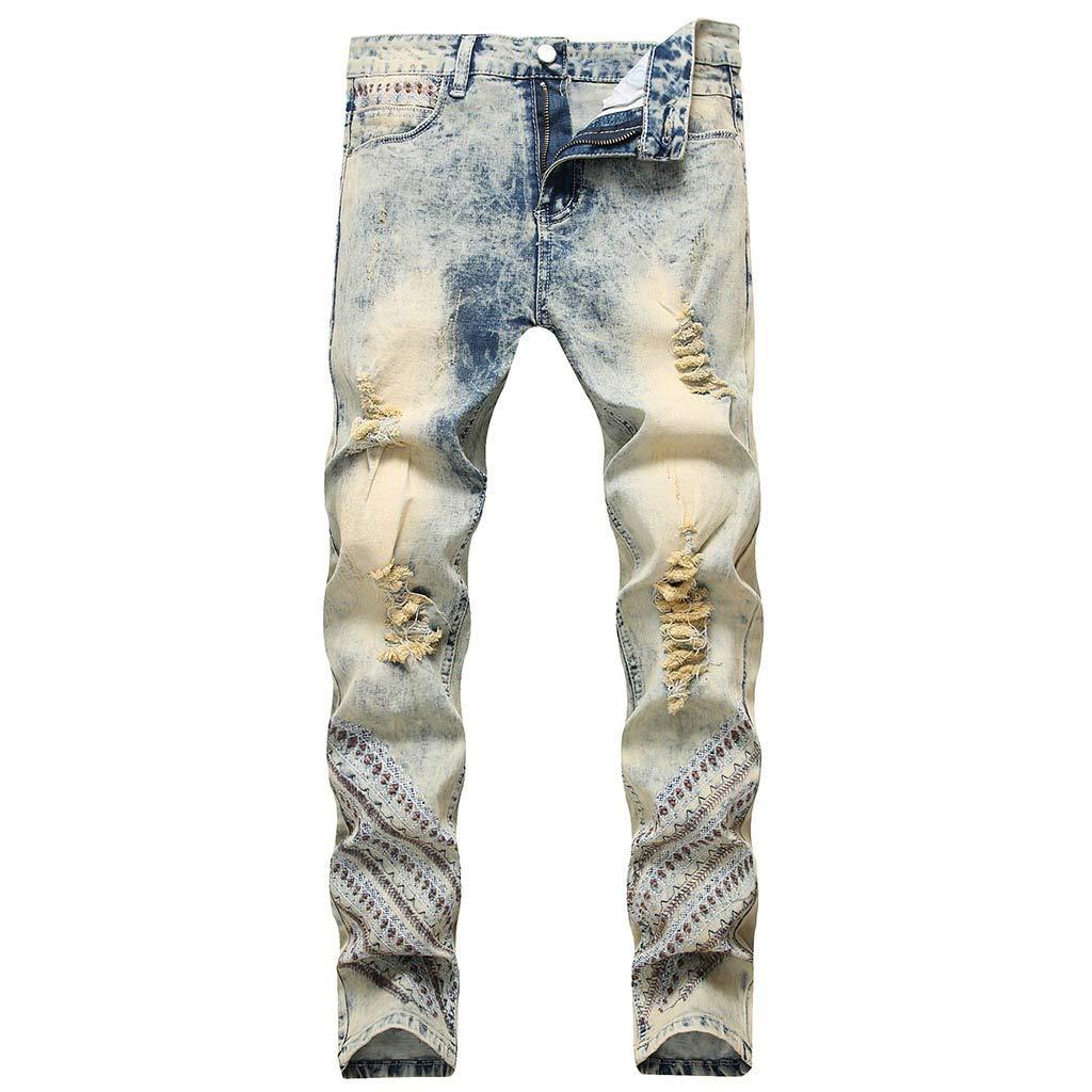 Aleola Men's Casual Denim Straight Hole Trouser Distressed Jeans Long Pants (Beige,30) by Aleola_Men's Pants