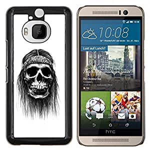 GIFT CHOICE / Teléfono Estuche protector Duro Cáscara Funda Cubierta Caso / Hard Case for HTC One M9Plus M9+ M9 Plus // Hippie Paz del cráneo Negro fumadores //