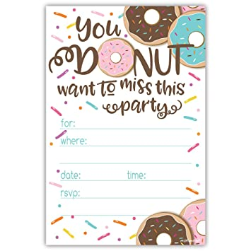 Donut Party Invitations With Envelopes 20 Count