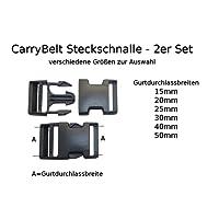 CarryBelt Gurtzubehör 2er Set Steckschnalle nach Größenauswahl - Outdoor Haushalt KFZ Camping Multisport Caravan Motorsport
