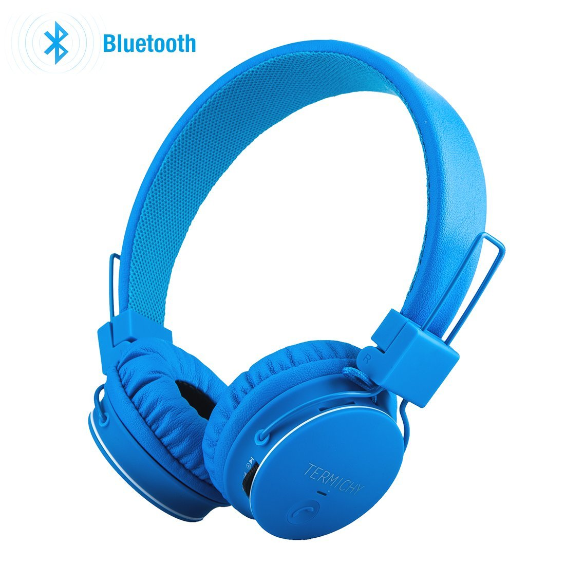 Kids Bluetooth Headphones Foldable Volume Limiting Wireless/Wired Stereo On Ear HD Headset with SD Card FM Radio In-line Volume Control Microphone for Children Adults (Blue) by Sodee