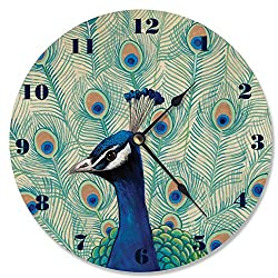 Stupell Home Décor Blue Peacock II Vanity Clock, 12 x 0.4 x 12, Proudly Made in USA
