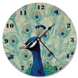 Stupell Home Décor Blue Peacock II Vanity Clock, 12 x 0.4 x 12, Proudly Made in USA Review