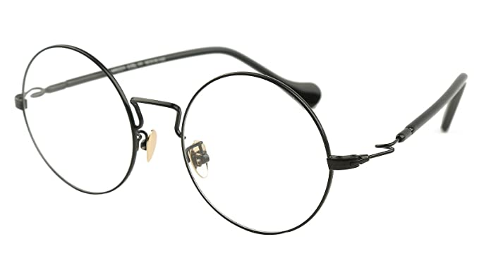 18f52e176f Agstum Large Round Metal Prescription Ready Glasses Frame Clear Lens 49mm  (Black