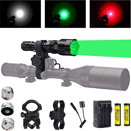 Predator Light with Green Red White LED Hunting Flashlight, Pressure Switch, Rifle Barrel Scope Mount for Hogs Coyotes Varmints Raccoons Coon Deer Night Hunting Batteries and Charger Included
