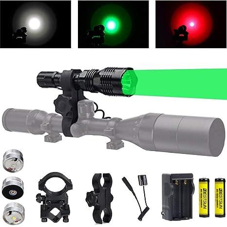 Green Light Flashlight 400 Yards Predator Light Hog Coyote Varmint Hunting Light