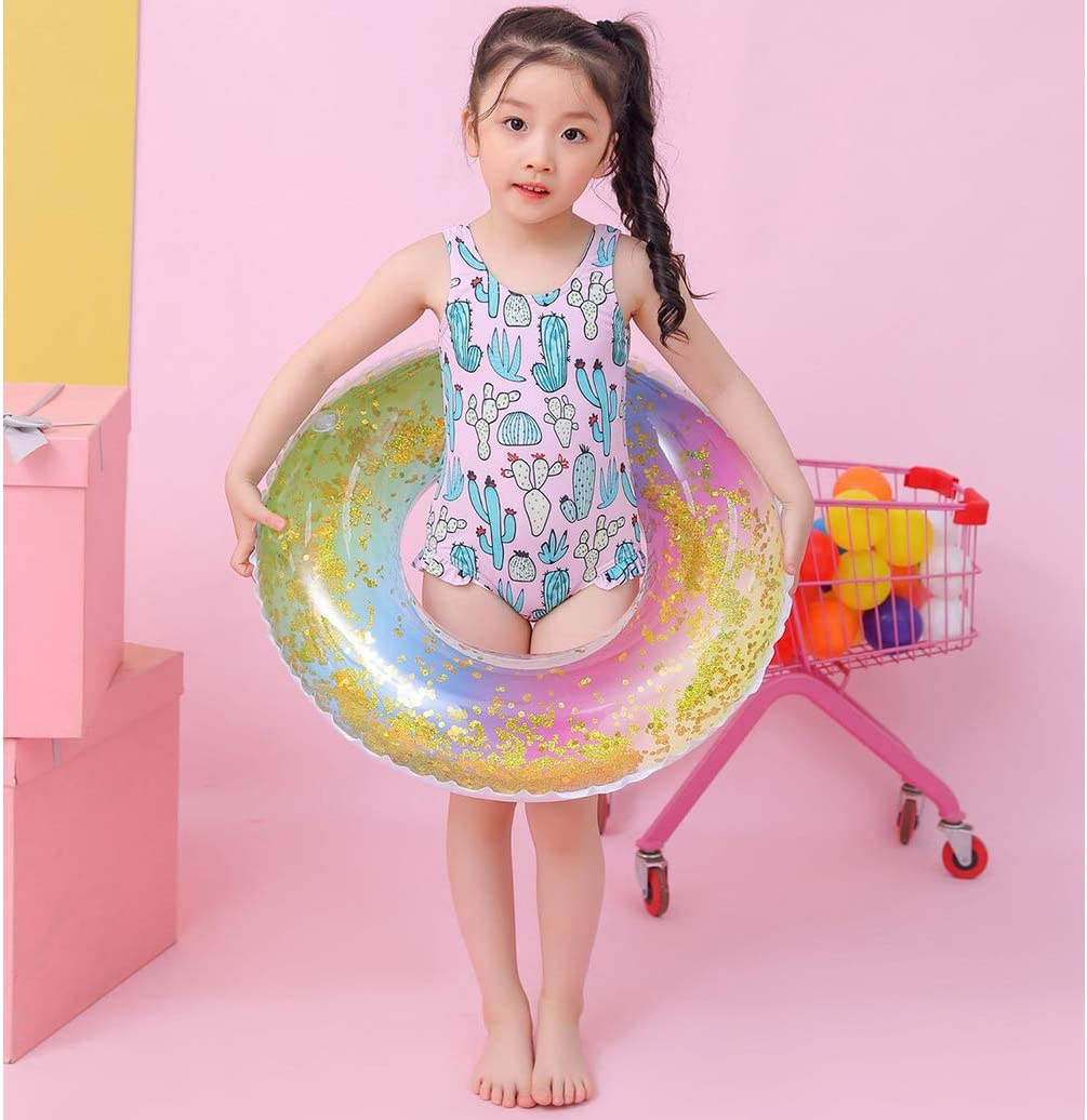 Pool Float Summer Holiday Environment-Friendly Thickened PVC Translucent Unique Design Colorful Gold Glitter Blink Pool Swim Ring for 5-9 Years Old Girl and Kids,Diameter 27.5inches