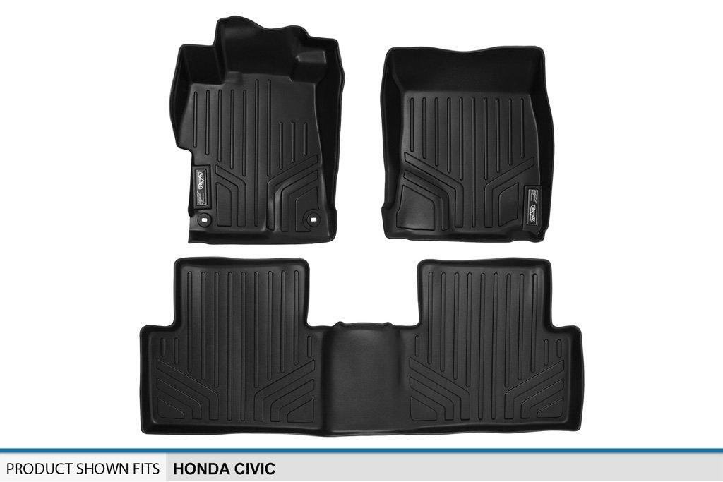 SMARTLINER Floor Mats for Honda Civic MAXLINER A0156//B0137 2012-2015 Black Complete Set