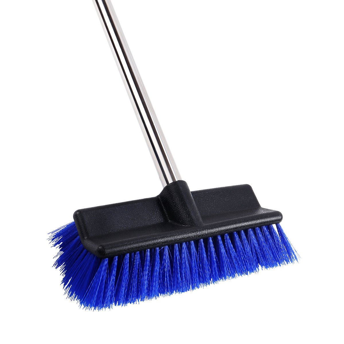 MEIBEI Deck Brush, Heavy Duty Deck Scrubber with Adjustable Stainless Steel Long Handle-51 Inches, Commercial Floor Scrub Brush, Perfect for Cleaning Deck, Patio, Hallway, Driveway and Boat by MEIBEI