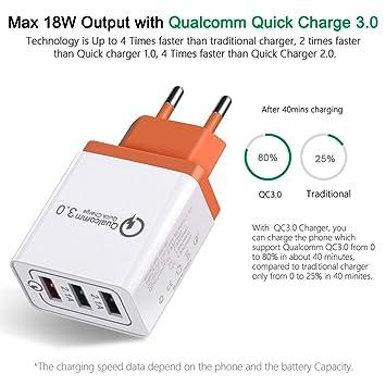 Starter Charge rapide QC3.0 Chargeur 3 USB T/él/éphone portable Flash Chargeur 3 Port EU Plug Voyage Chargeur