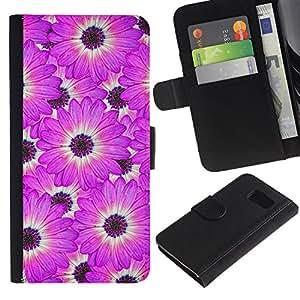 LASTONE PHONE CASE / Lujo Billetera de Cuero Caso del tirón Titular de la tarjeta Flip Carcasa Funda para Samsung Galaxy S6 SM-G920 / Flower White Pattern Pink